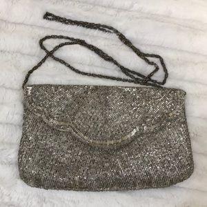 Vintage beaded silver clutch or shoulder bag